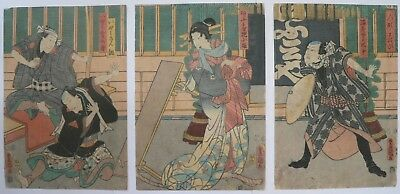 19c Japanese Original Antique Old Woodblock Print Triptych Of Geisha Oiran