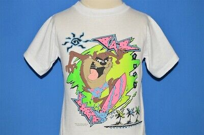 vintage 80s TAZ EASY SURF TASMANIAN DEVIL LOONEY TUNES NEON t-shirt YOUTH M