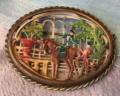 Antique Art Nouveau carved french Intricate diorama rolled gold brooch