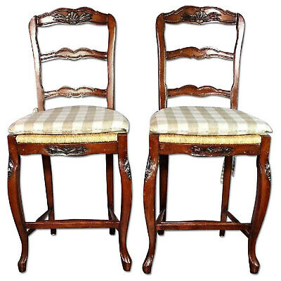 Pair 2 French Provincial Bar Counter Chairs Stools Wicker Seat Side Sofa Dining