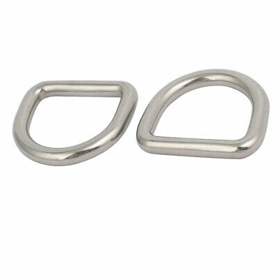 30mmx27mmx6mm 304 Stainless Steel Thickening Welded D Ring Silver Tone 2pcs