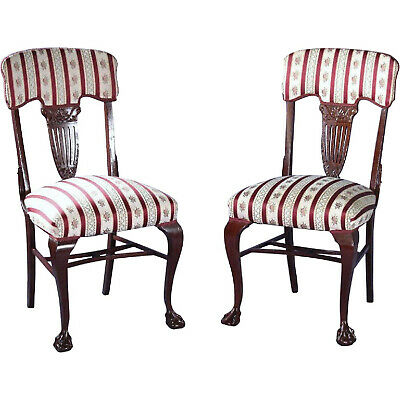 Pair 2 Antique Silk Upholstery Carved Georgian Side Chairs Dining Accent Vintage