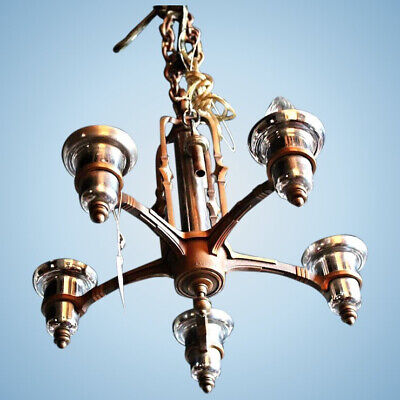 Antique Art Deco 5 Arm Bronze Nickel Chandelier Fixture Lighting Lamp Vintage