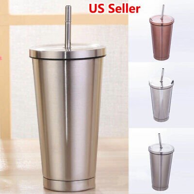 19f2338b7d9 US 304 Stainless Steel 500ml Vacuum Tumbler Cup With Straw Coffee Cup 6 ~12hors