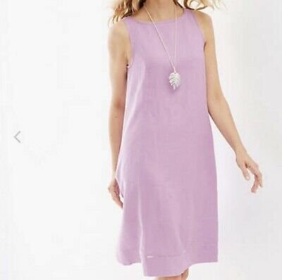 72c6a9942ee J Jill Womens Size Large L Love Linen Purple Sleeveless Shift Dress Pockets