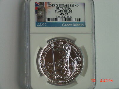 2015 Great Britain £2 2 Pound Britannia Plain Fields 1 Oz Silver Ngc Ms69