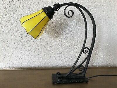 Antique 1930s Art Deco Powolny French Wrought Iron Table Lamp Yellow Tango Glass