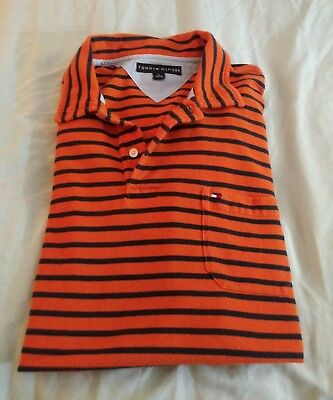 1230f6cfe TOMMY HILFIGER Polo Shirt MEN'S SIZE XL 100% COTTON ORANGE STRIPE VGUC