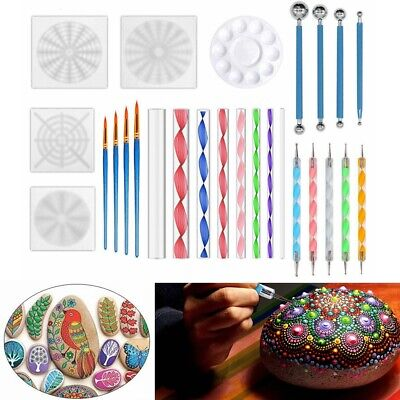 16 26pcs Set Mandala Dotting Tools Rock Painting Kits Dot  Paint Stencil Art Pen