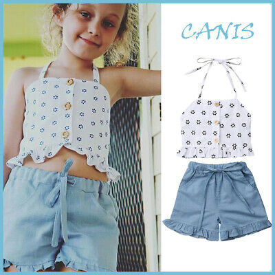 3d086154a268 Toddler Kids Baby Girls Summer Outfits Clothes Strap Tops+Denim Shorts 2pcs  Set