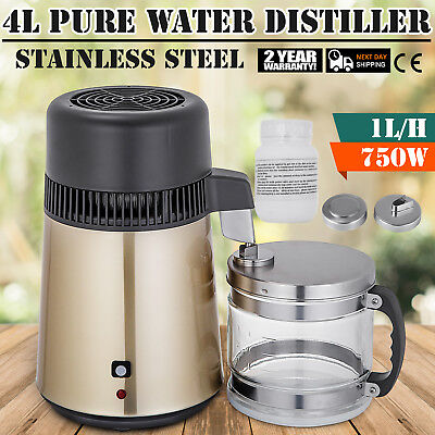 4L Water Distiller Purifier 750W Stainless Pure Water With Glass Jar Medical Lab