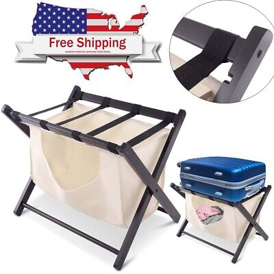Home Folding Wood Luggage Rack Suitcase Travel Bag Holder Stand