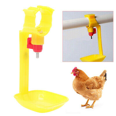 UK Poultry Chicken Duck Hanging Drinking Water Nipple Drinker Feeder With Cup