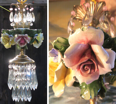 Porcelain pink lemon ROSE Chandelier SWAG lamp Capodimonte Brass Vintage crystal