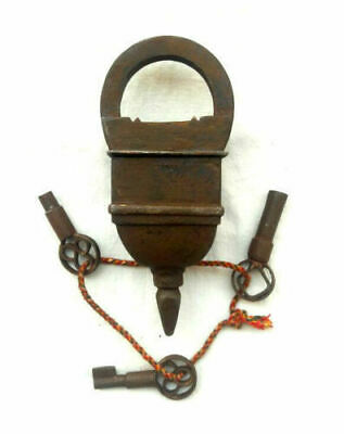 Old Antique Vintage Looking Tricky Puzzle 3 Keys Iron Lock Collectible B 007