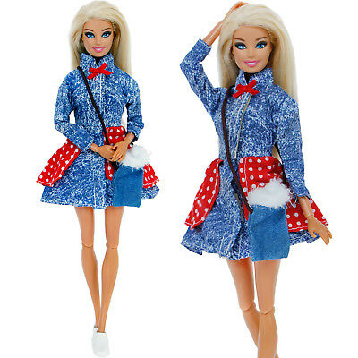 Daily Outfits Dress Bag Shoes Clothes Denim Accessories For Barbie Doll