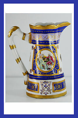 "Vintage Porcelain Marked Imperial Hand Painted Cobalt Blue 6 3/4"" Pitcher Vase"