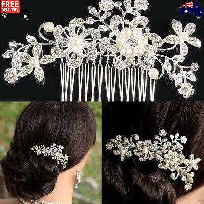 2Pcs Bridal Hair Comb Pearl Crystal Headpiece Wedding Accessories Silver New AU