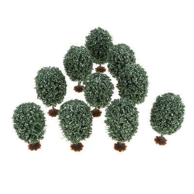 10PC Model Tree Christmas Architecture Building Layout Railway Scenery Green