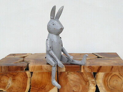 Rabbit Shabby Chic Shelf Sitter Wooden Carving Hand Painted Silver / Grey.....