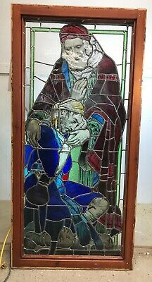Large Stained Glass Window Panel Hand Painted Architectural Artisan Pine Wood.