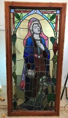 Large Stained Glass Window Panel Hand Painted Architectural Artisan Pine Wood R