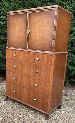 Rare Waring & Gillows Walnut Art Deco Tallboy/cabinet/chest Lots Of Storage