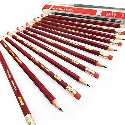 STABILO Swano Graphite Pencils with Eraser Tipped - HB - Pack of 12