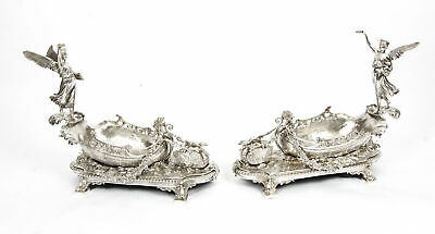 Stunning Pair of Silver Plated Winged Lady Boat Centrepieces 20th C