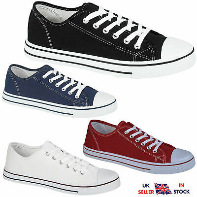 Mens Lace Up Trainers Casual Canvas Plimsolls Boys Flat Baseball Pumps Shoes New