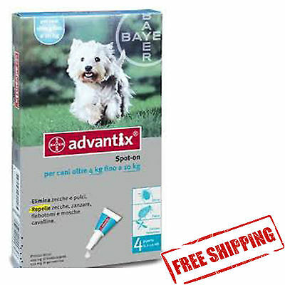 ADVANTIX 4-10KG 4 spot-on for dogs chien hunde perro FREE SHIPPING EUROPE