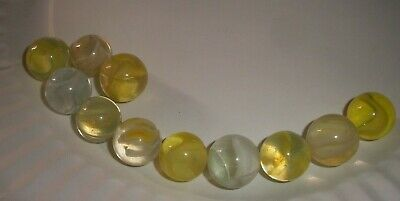 ESTATE Find 11 vintage Vitro Agate Cats Eye Marbles blizzard yellow white lot 2