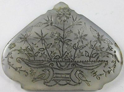MUGHUL EMPIRE, 19th CENT,WHITE JADE PENDANT , HAND ENGRAVED MUGHUL FLORAL DESIGN