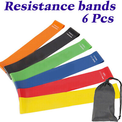 6x Resistance Exercise Loop Bands Ankle Leg Home Gym Fitness Yoga Pilates Glute
