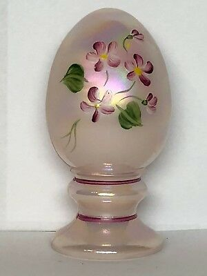 Fenton Hand-Painted Glass 9 Light Pink Egg Pink Flowers By A. Meeks Vintage