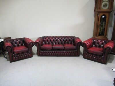 Leather Chesterfield 3 Piece Suite Red Leather Antique Design Inc Club Chairs