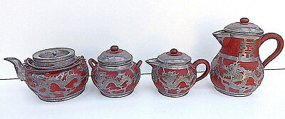 Antique Chinese HOR CHUNG Weihaiwei 4 Piece Pewter Bound Teaset