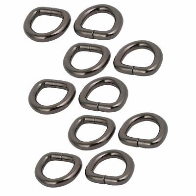 13mm Inner Width Zinc Alloy Thickening Non Welded D Ring Black 10pcs
