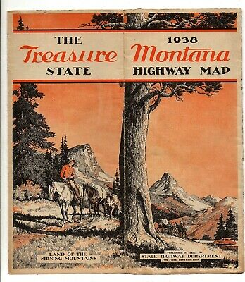 Vintage MONTANA HIGHWAY MAP travel west cars MT automobilia 1938 art graphics VG