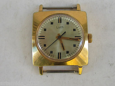 VERY RARE VINTAGE RUSSIAN USSR Wrist WATCH  LUCH-slim Gold Plated AU 10  23j.