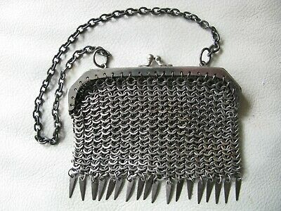 Antique Old World Silver Tone Frame 18 Flat Tassel Chain Mesh Coin Purse 1800s