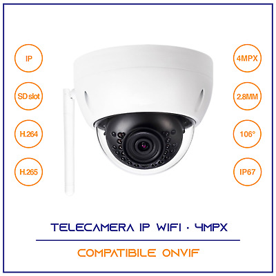 Telecamera Ip Camera Ir Infrarossi 4 Mpx Wireless Wifi Onvif Esterno Ip 67 Dome