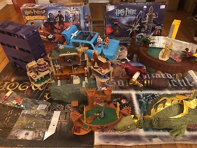 Harry Potter Hogwarts Quidditch playset Mattel Ford Anglia KnightBus Norbert lot