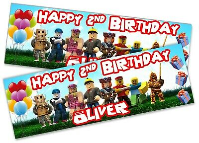 x2 Personalised Birthday Banner Roblox Children Kids Party Decoration Poster 22