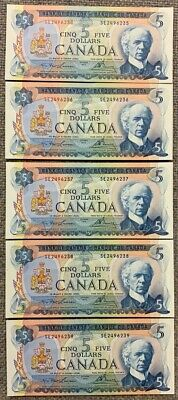 1972 Bank of Canada $5 - Lot of 5 Consecutive Uncirculated Notes
