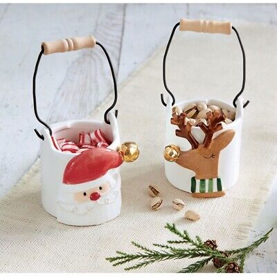 Mud Pie H7 Christmas Holiday Candy Nut Caddy 4855053 Choose Santa OR Reindeer