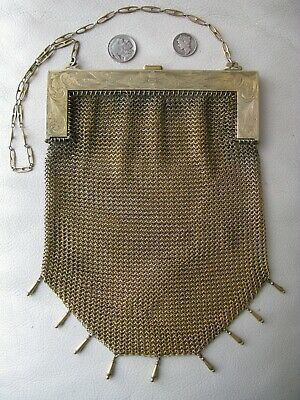 Antique German Silver Gold T Floral Engraved Frame 9 Tassel Mesh Purse E A BLISS