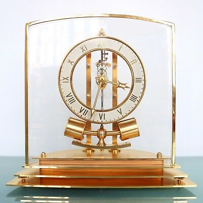 French ATO LEON HATOT Mantel Clock GILDED 1940 RARE ELECTRIC Translucent Vintage