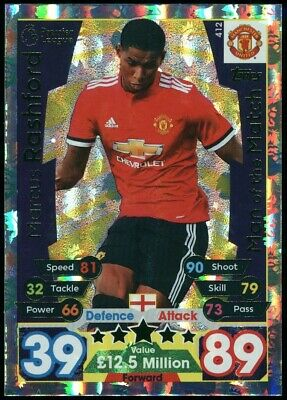 Marcus Rashford - Man. Utd #412 Match Attax 2017/18 Topps Trading Card (C2622)