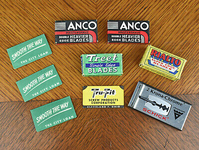 Lot of VTG Safety Razor Blades Collectable Shaving Advertising Anco Rialto Treet